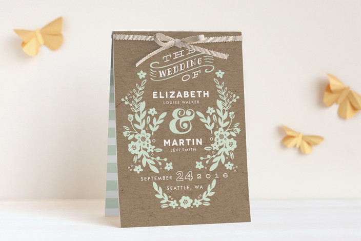 """Ampersand Floral"" - Rustic Unique Wedding Programs in Mint by Alethea and Ruth."