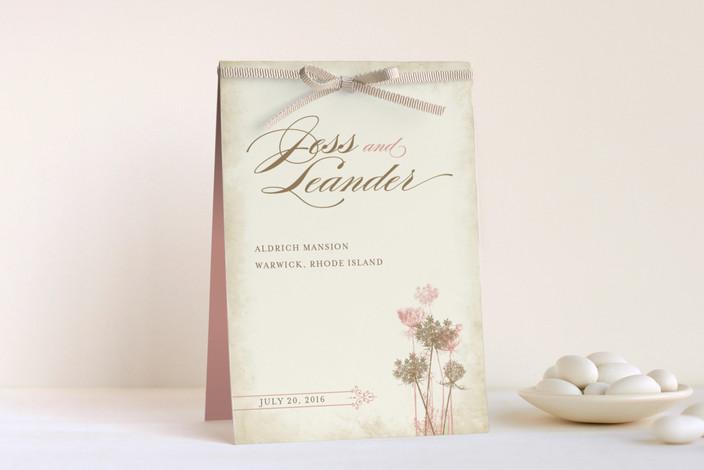 """Rustic Queen Anne"" - Unique Wedding Programs in Vintage Rose by Brynn Rose Designs."