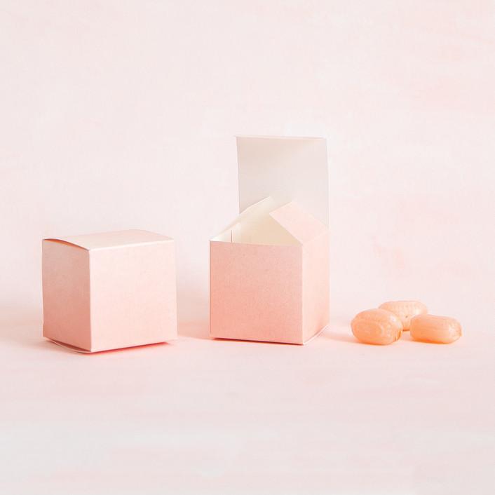 Blush dip-dyed favor boxes
