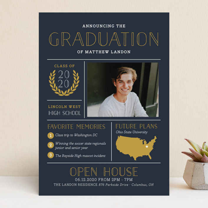 """Grad Grid"" - Graduation Announcements in Navy by Sarah Brown."