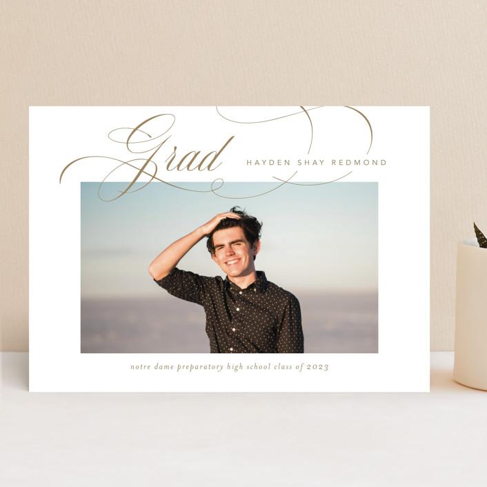 """Flourishing"" - Graduation Announcements in Gilded Gold by Jennifer Postorino."