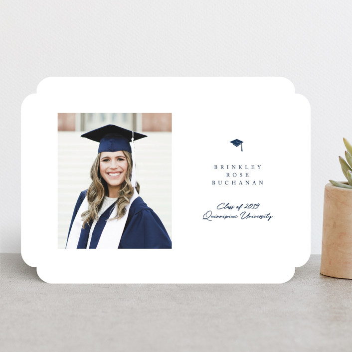 """Simple Cap"" - Graduation Announcements in Royal by Paula Pecevich."