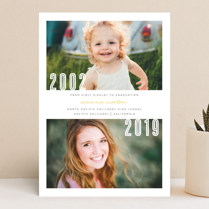 """""""Now and Then"""" - Graduation Announcements in Dusty Rose by Lehan Veenker."""