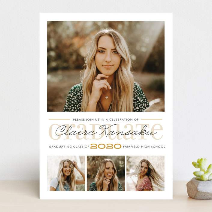"""""""Long Road"""" - Graduation Announcements in Gold by Carrie ONeal."""