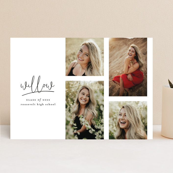 """""""FOUR"""" - Modern Graduation Announcements in Cotton by Ashlee Townsend."""