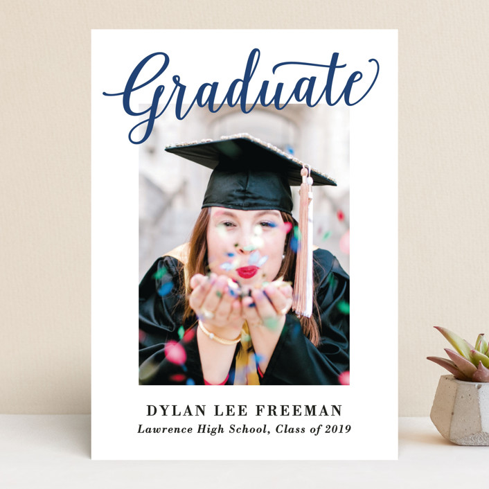 """Graduate Script"" - Graduation Announcements in Navy by Hooray Creative."