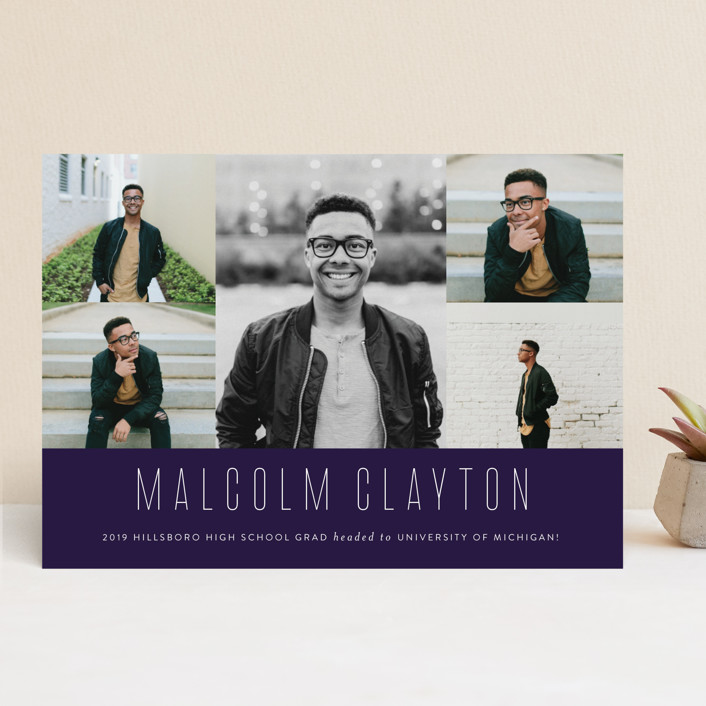 """Sharp"" - Modern Graduation Announcements in Onyx by Sara Hicks Malone."