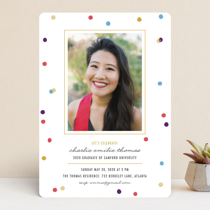 """Flecks of Confetti"" - Preppy Graduation Announcements in Berry by lena barakat."