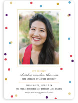 This is a blue graduation announcement invitation by lena barakat called Flecks of Confetti with standard printing on smooth signature in standard.