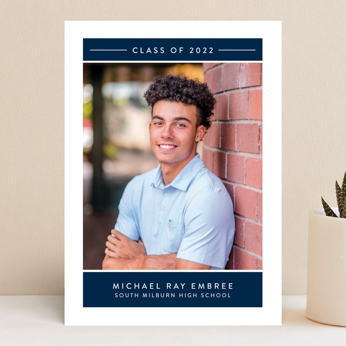 """Banded"" - Graduation Announcements in Navy by Jessica Williams."