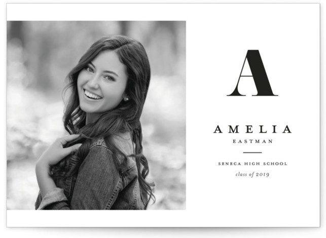 Bold Monogram Graduation Announcement Cards