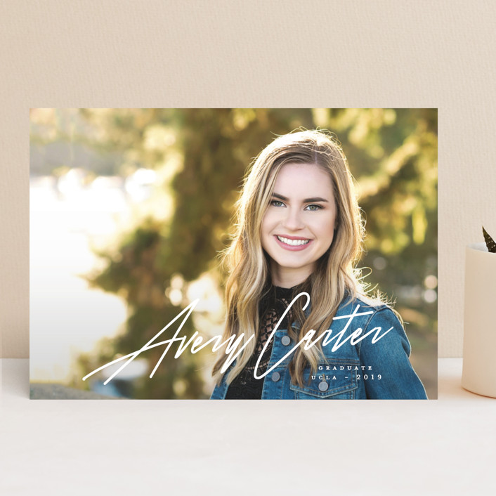 """Eloquent"" - Graduation Announcements in Pristine by Creo Study."