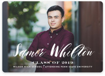 This is a white graduation announcement invitation by Carrie ONeal called Namesake with standard printing on smooth signature in standard.