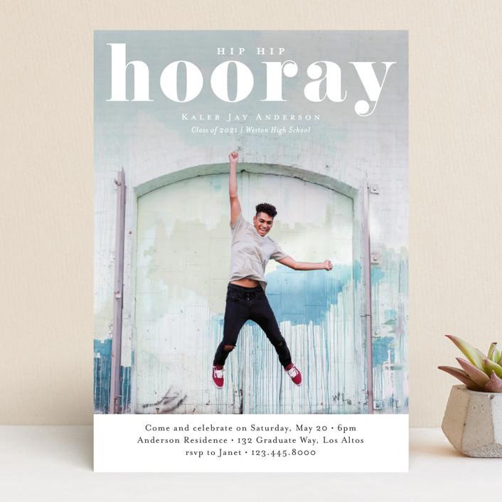 """Hooray"" - Modern, Funny Graduation Announcements in Cloud by Kasia Labocki."