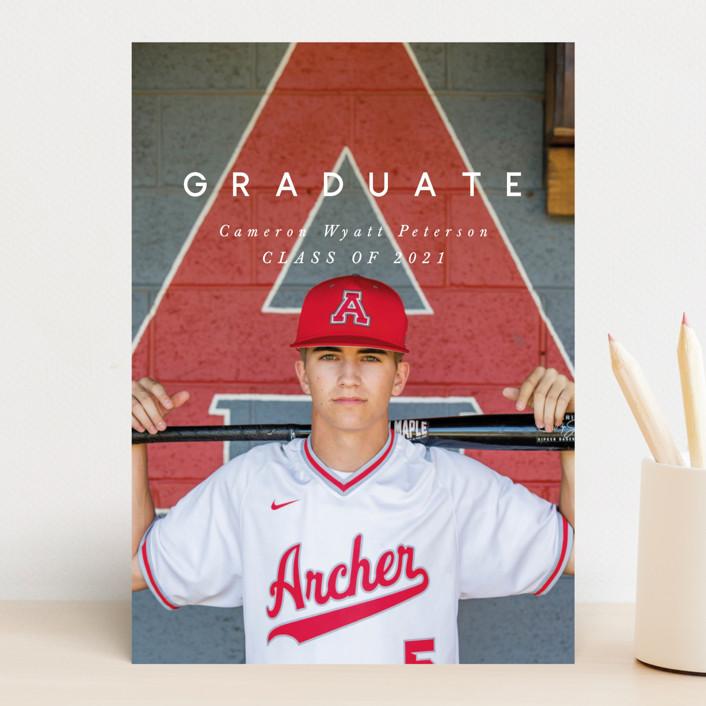 """Simple Grad"" - Modern Graduation Announcements in Dusty Grey by Still and Mundane."