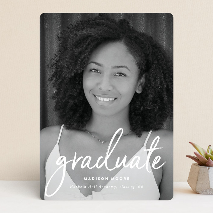 """Celebration Script"" - Modern Graduation Announcements in Cloud by Sara Hicks Malone."