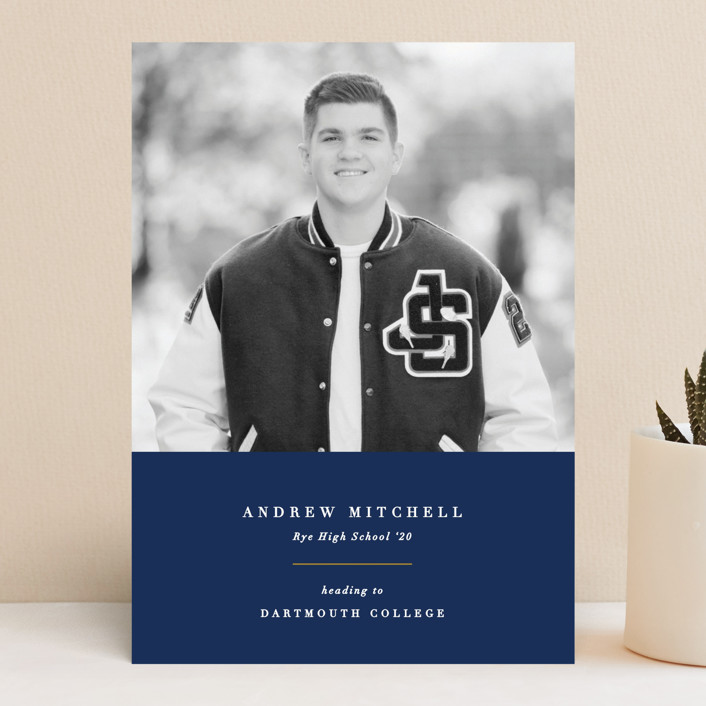 """Subtle Colors"" - Graduation Announcements in Navy by Olivia Raufman."