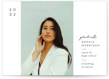 This is a white graduation announcement invitation by Amy Kross called Mod Band with standard printing on signature in standard.