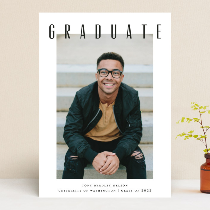 """Next Step"" - Graduation Announcements in Coal by Drango Design."