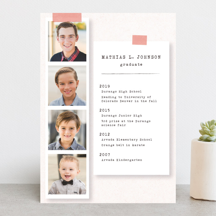 """""""Accomplishments on file"""" - Graduation Announcements in Flamingo by Gwen Bedat."""