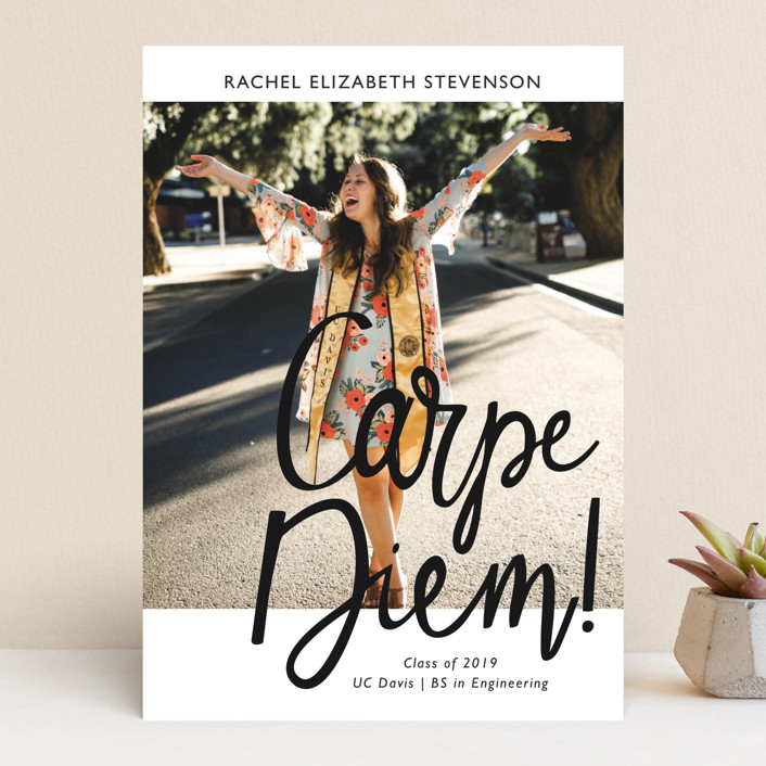 """Carpe Diem!"" - Funny Graduation Announcements in Ink by Basil Design Studio."