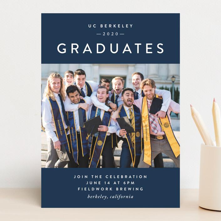 """Grad Group"" - Preppy Graduation Announcements in Midnight by Christie Garcia."