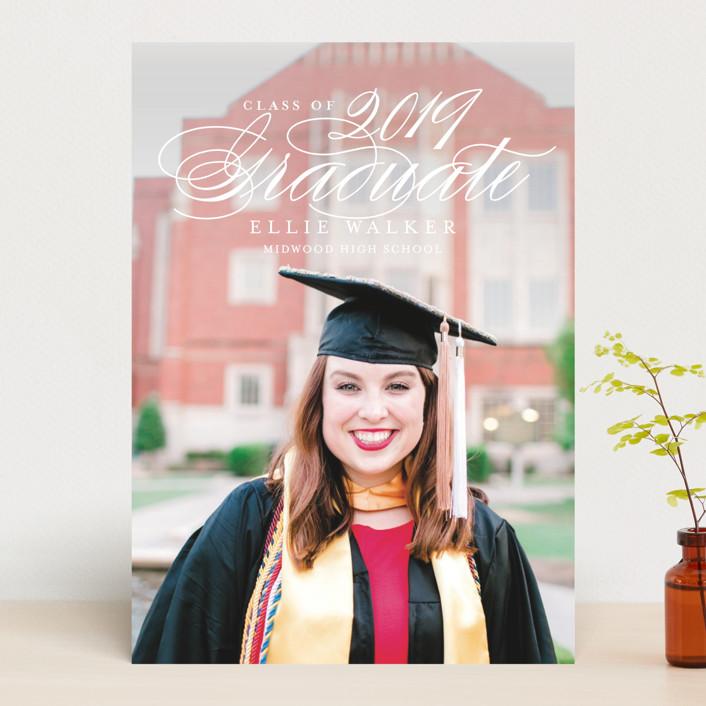 """gracious grad"" - Graduation Announcements in Linen by Guess What Design Studio."
