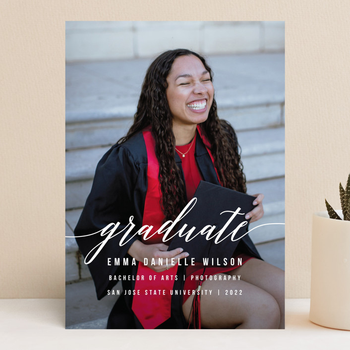 """""""Simple Style"""" - Modern Graduation Announcements in Cotton by Simona Camp."""