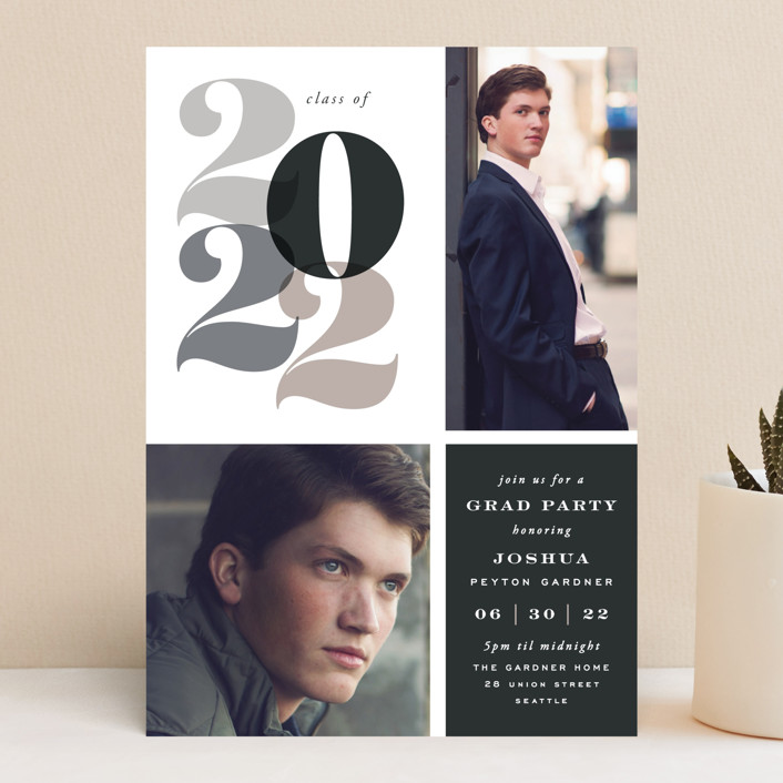 """""""In Vogue"""" - Graduation Announcements in Neutrals by Hooray Creative."""