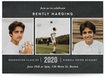 This is a black graduation announcement invitation by Oscar & Emma called Academy with standard printing on smooth signature in standard.
