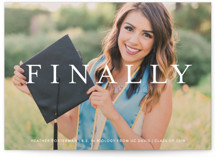 This is a white graduation announcement invitation by Liz Conley called Its Finally Time with standard printing on smooth signature in standard.
