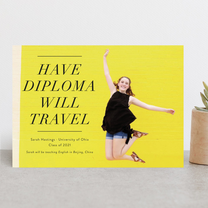 """""""Have Diploma Will Travel"""" - Funny, Modern Graduation Announcements in Noir by Jackie Crawford."""
