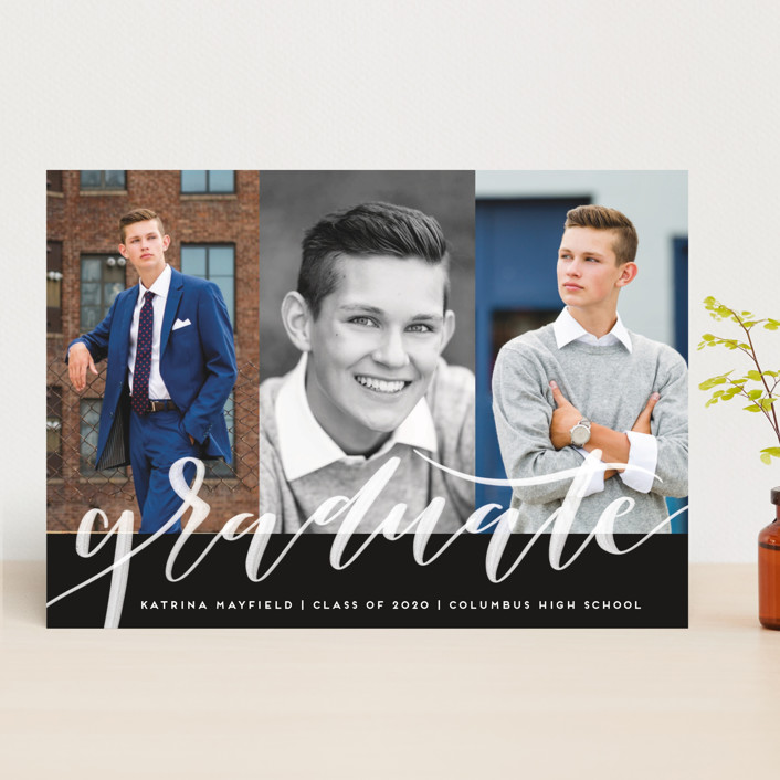 """""""Accomplished"""" - Graduation Announcements in Midnight by Leah Bisch."""