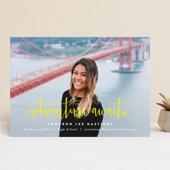 """Adventure Awaits!"" - Graduation Announcements in Mist by Hooray Creative."