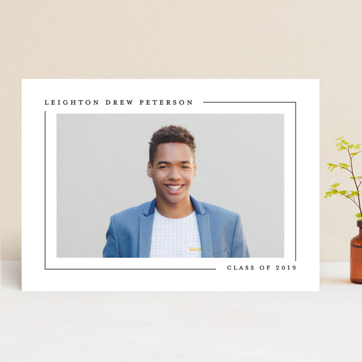 """""""Simply Serene"""" - Graduation Announcements in Onyx by Lauren Chism."""