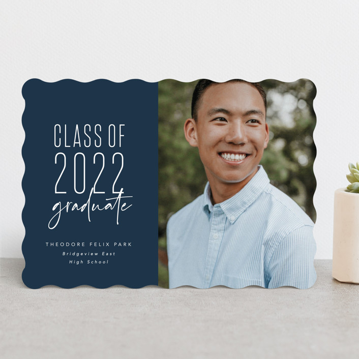 """One and done"" - Funny, Preppy Graduation Announcements in Jeans by Lea Delaveris."