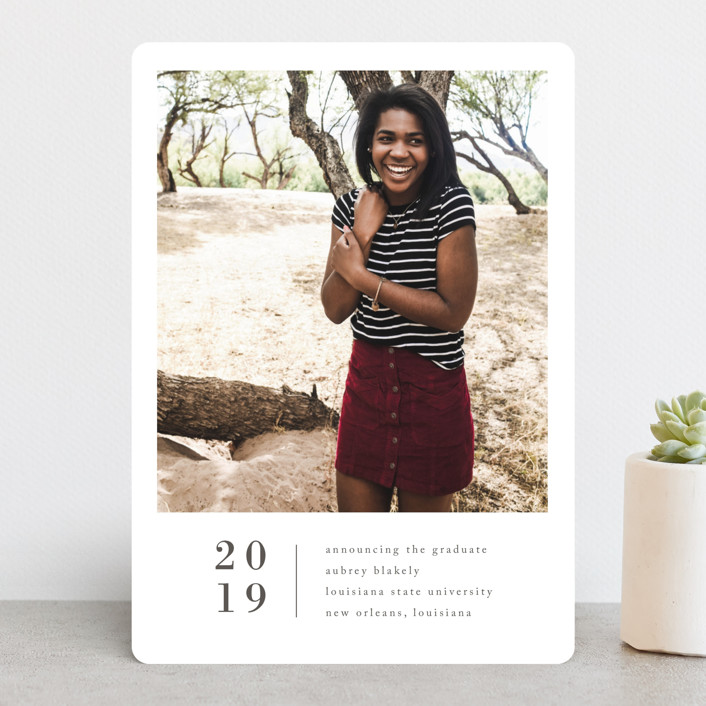 """Stacked Banner"" - Graduation Announcements in Cotton by Amy Kross."