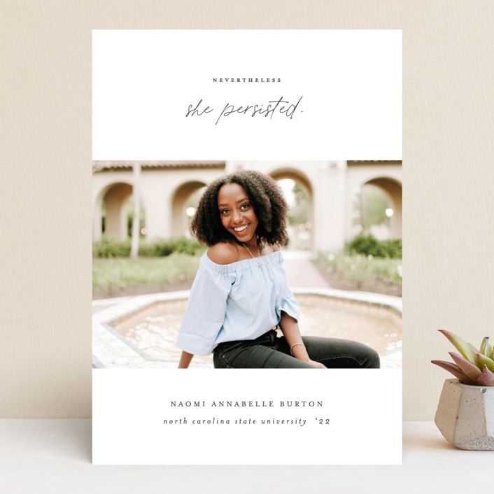 """""""She Persisted"""" - Graduation Announcements in Onyx by Ashley Rosenbaum."""