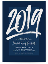 This is a blue graduation announcement invitation by Lea Delaveris called All the Best with standard printing on signature in standard.
