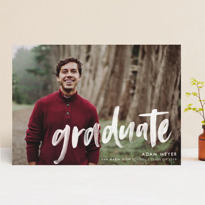 """Modern Brush Graduate"" - Modern Graduation Announcements in Pearl by Paper Dahlia."