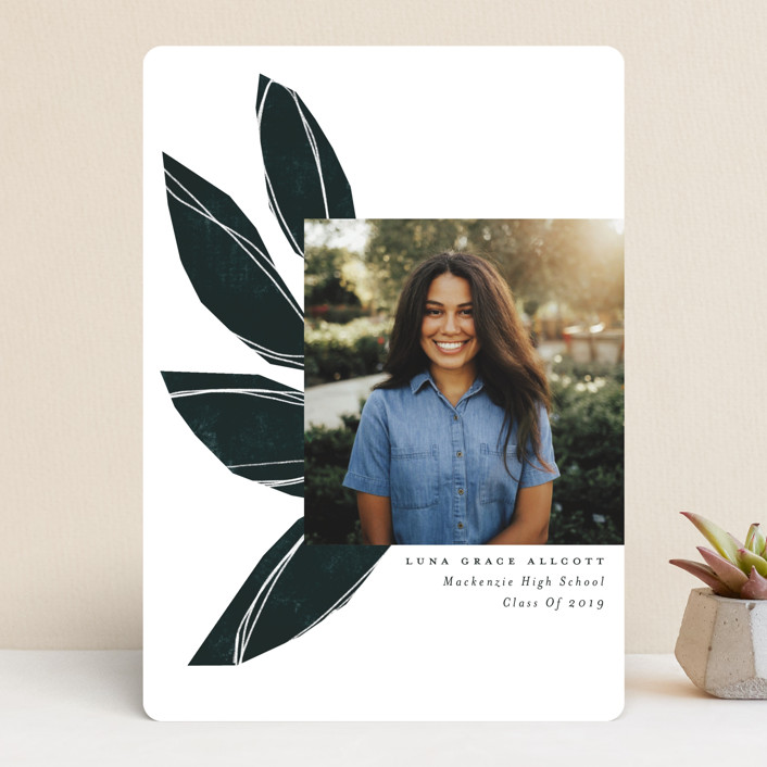 """Sketched Leaves"" - Modern Graduation Announcements in Sapphire by Morgan Kendall."