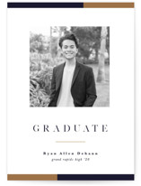 This is a blue graduation announcement invitation by Pixel and Hank called Stacked with standard printing on smooth signature in standard.