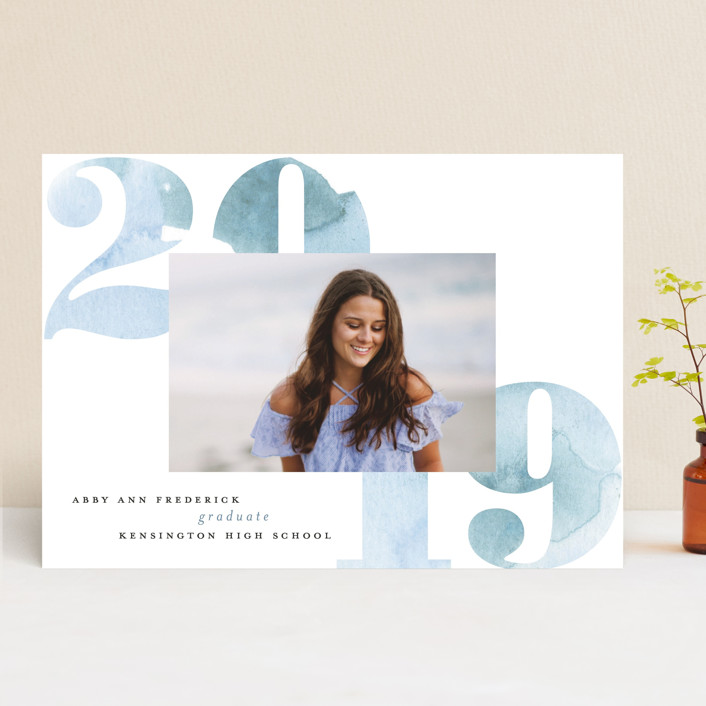 """Watercolor 2019"" - Graduation Announcements in Wash by Erin German Design."