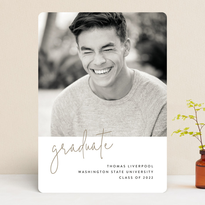 """""""Minimalist"""" - Graduation Announcements in Taupe by Chryssi Tsoupanarias."""
