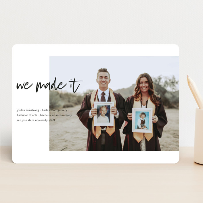 """Made It!"" - Funny, Modern Graduation Announcements in Ivory by Kristel Torralba."