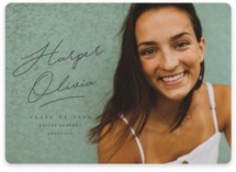 This is a grey graduation announcement invitation by Stacey Meacham called ink signature with standard printing on smooth signature in standard.