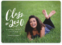 This is a white graduation announcement invitation by Creo Study called Featuring with standard printing on smooth signature in standard.