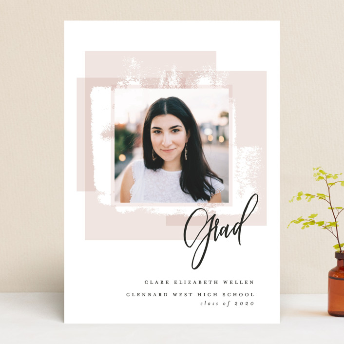 """""""Light and Airy Grad"""" - Modern Graduation Announcements in Blush by Erin German Design."""