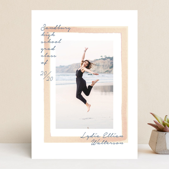 """""""Painted Frame Grad"""" - Modern Graduation Announcements in Peach by Baumbirdy."""