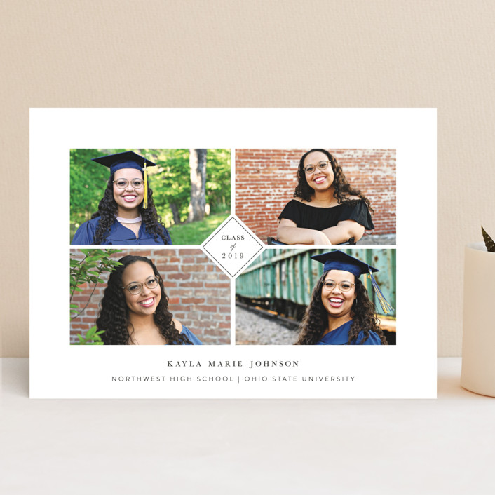 """centered"" - Preppy Graduation Announcements in Charcoal by Mayflower Press."